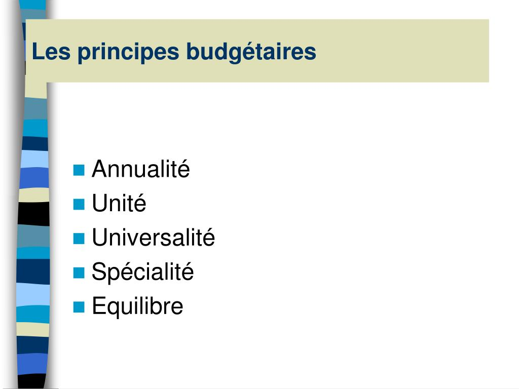 Les principes budgétaires