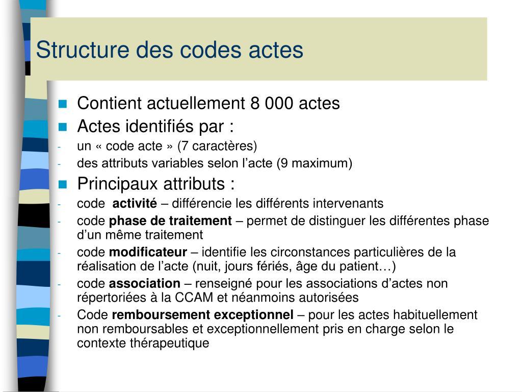 Structure des codes actes