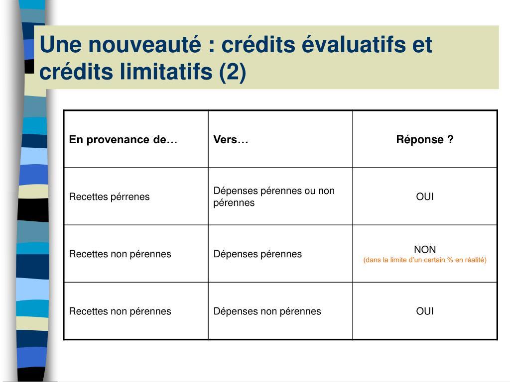Une nouveauté : crédits évaluatifs et crédits limitatifs (2)