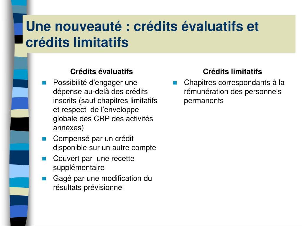 Crédits évaluatifs