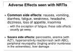 adverse effects seen with nrtis