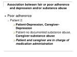 association between fair or poor adherence and depression and or substance abuse84