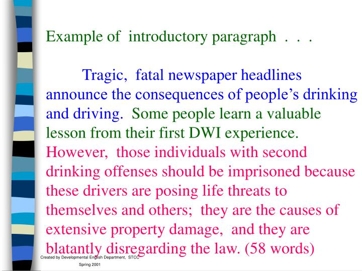 Example of  introductory paragraph  .  .  .
