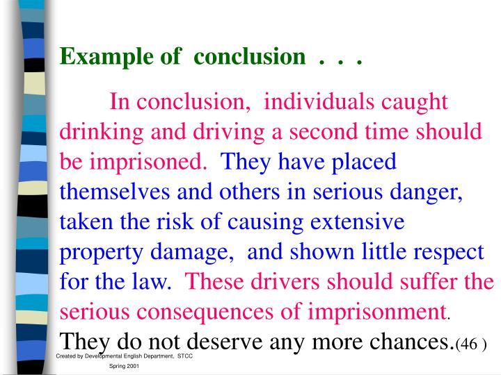Example of  conclusion  .  .  .