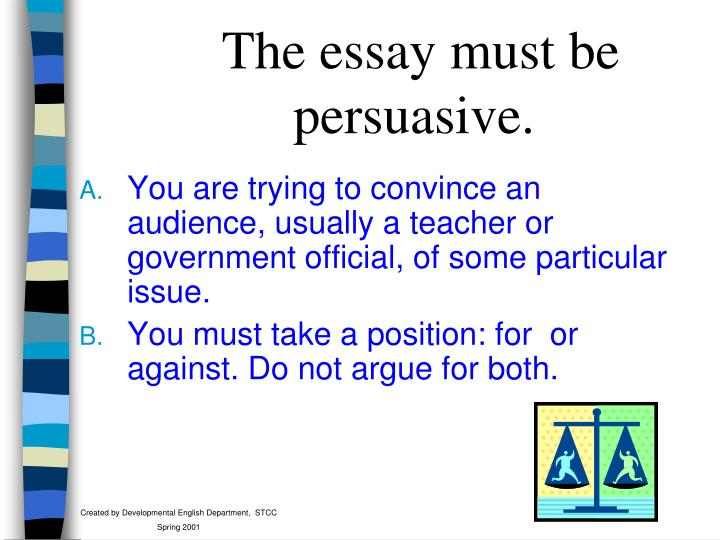 The essay must be persuasive.