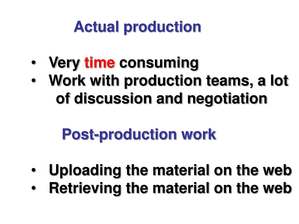 Actual production