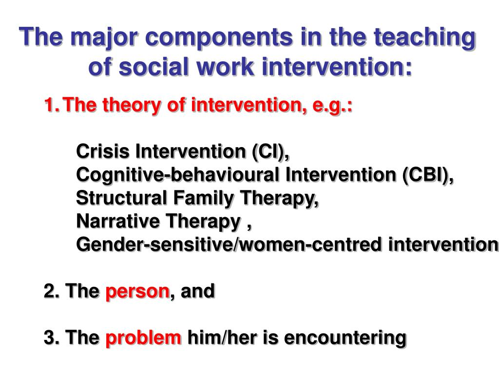 The major components in the teaching