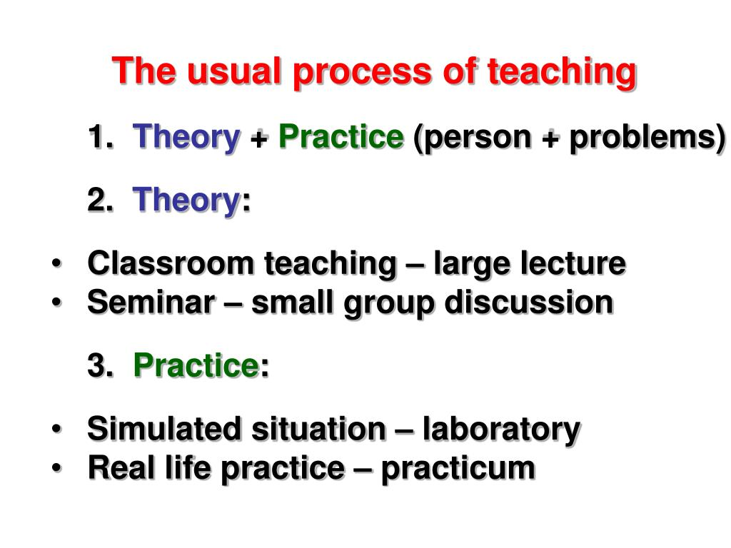 The usual process of teaching