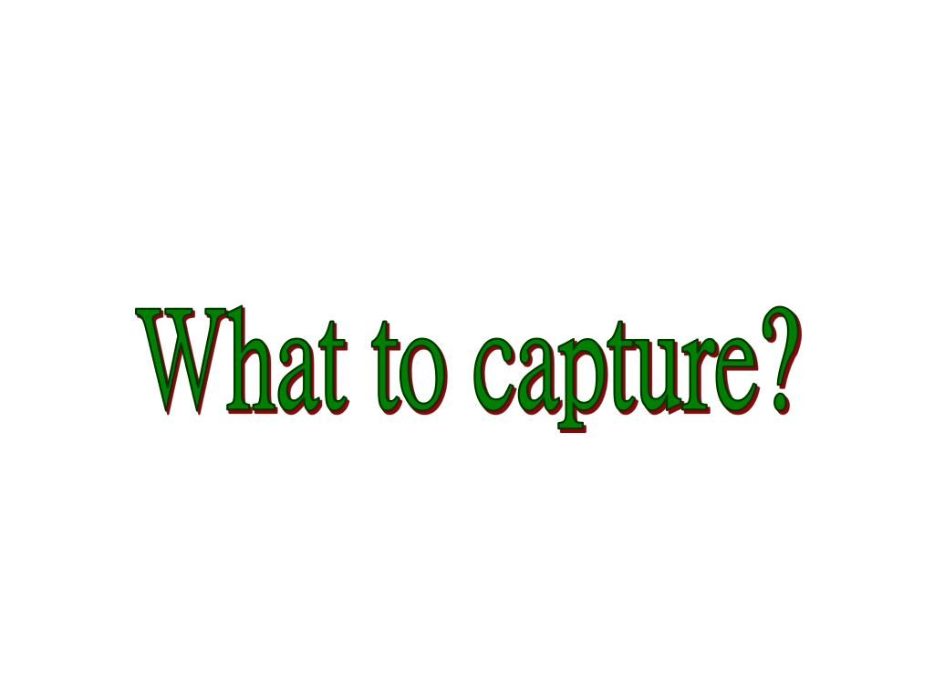 What to capture?