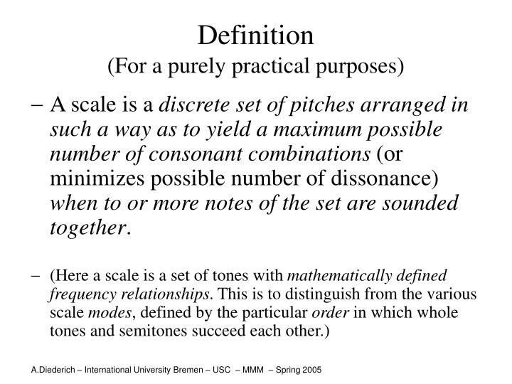 Definition for a purely practical purposes
