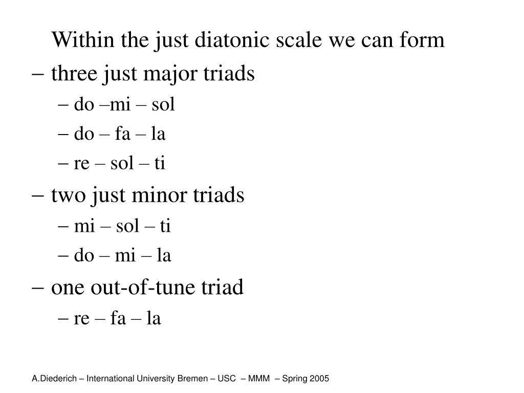 Within the just diatonic scale we can form
