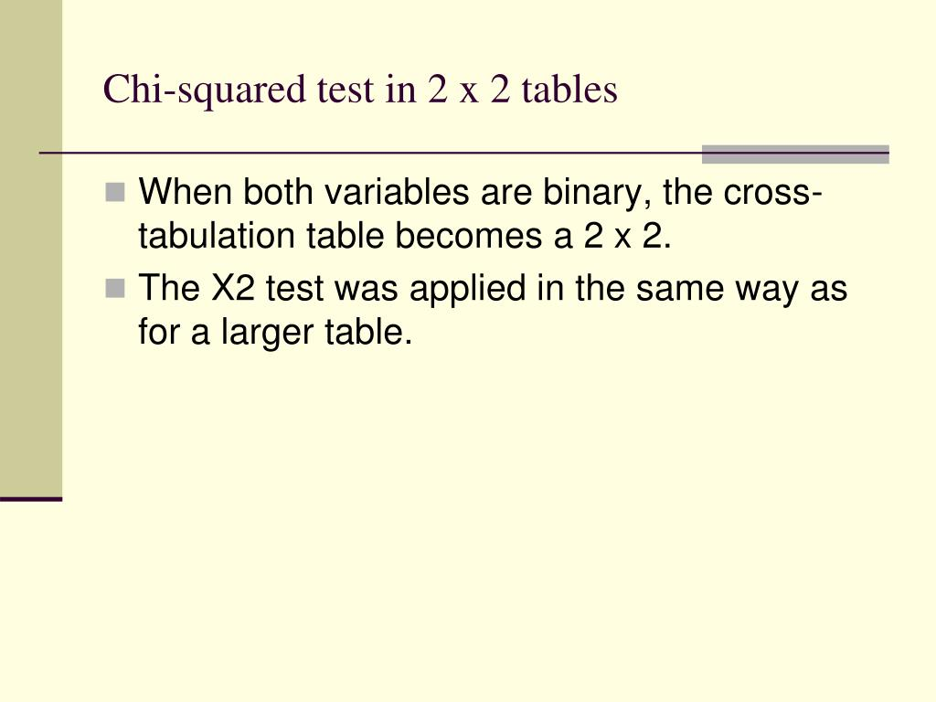 Chi-squared test in 2 x 2 tables