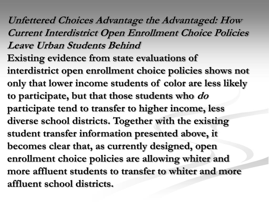Unfettered Choices Advantage the Advantaged: How Current Interdistrict Open Enrollment Choice Policies Leave Urban Students Behind