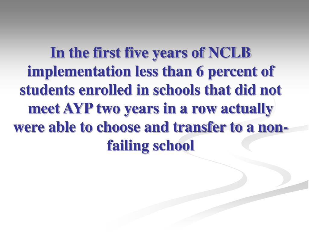 In the first five years of NCLB implementation less than 6 percent of students enrolled in schools that did not meet AYP two years in a row actually were able to choose and transfer to a non-failing school