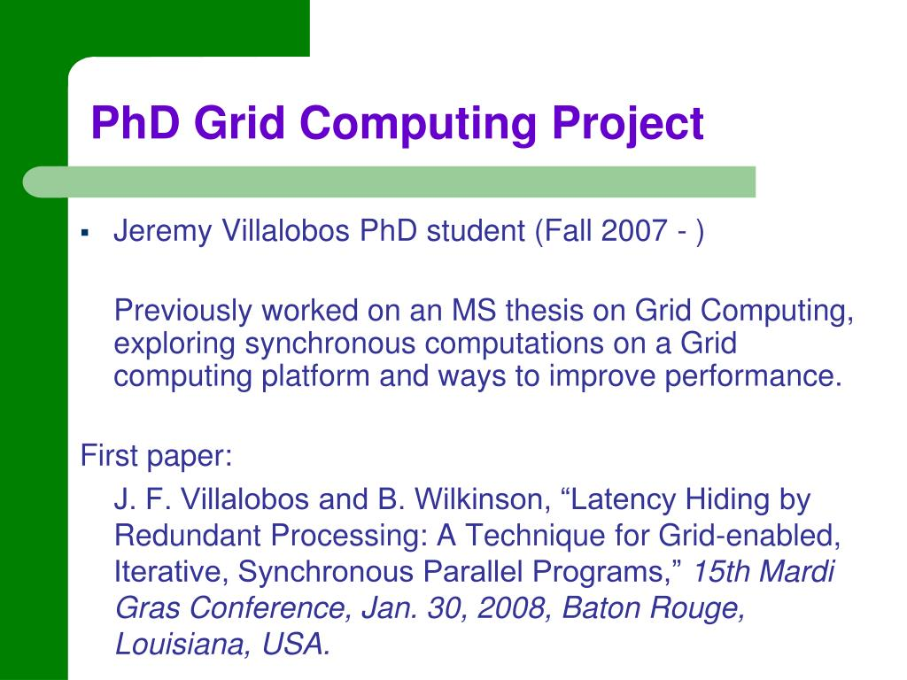 PhD Grid Computing Project
