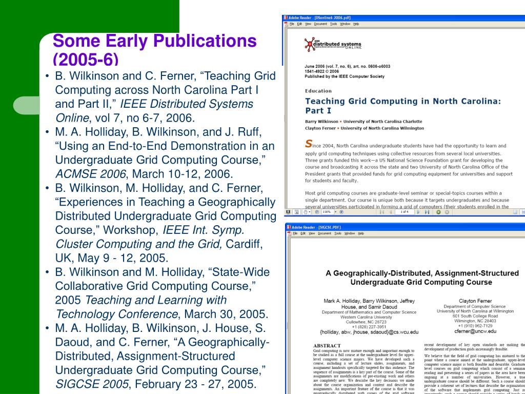 Some Early Publications (2005-6)