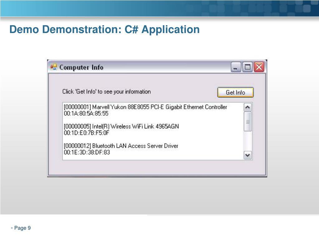 Demo Demonstration: C# Application