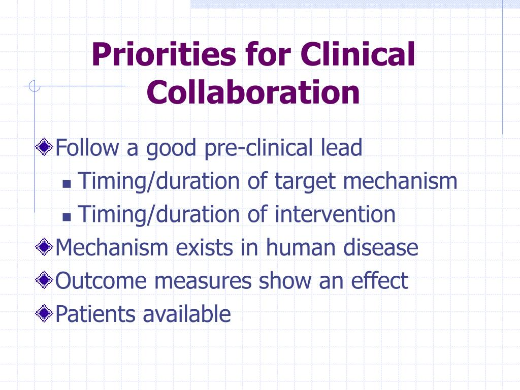 Priorities for Clinical Collaboration