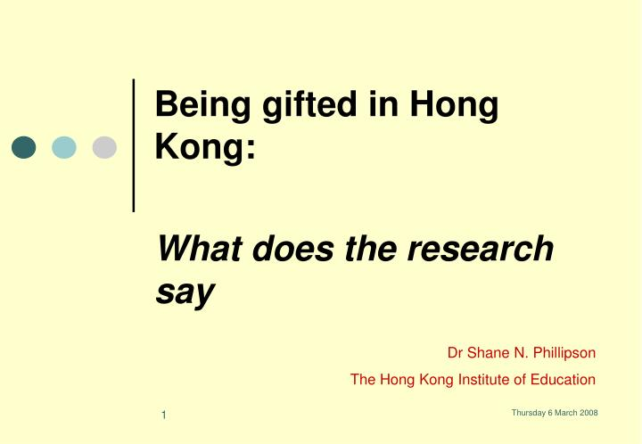 Being gifted in hong kong what does the research say