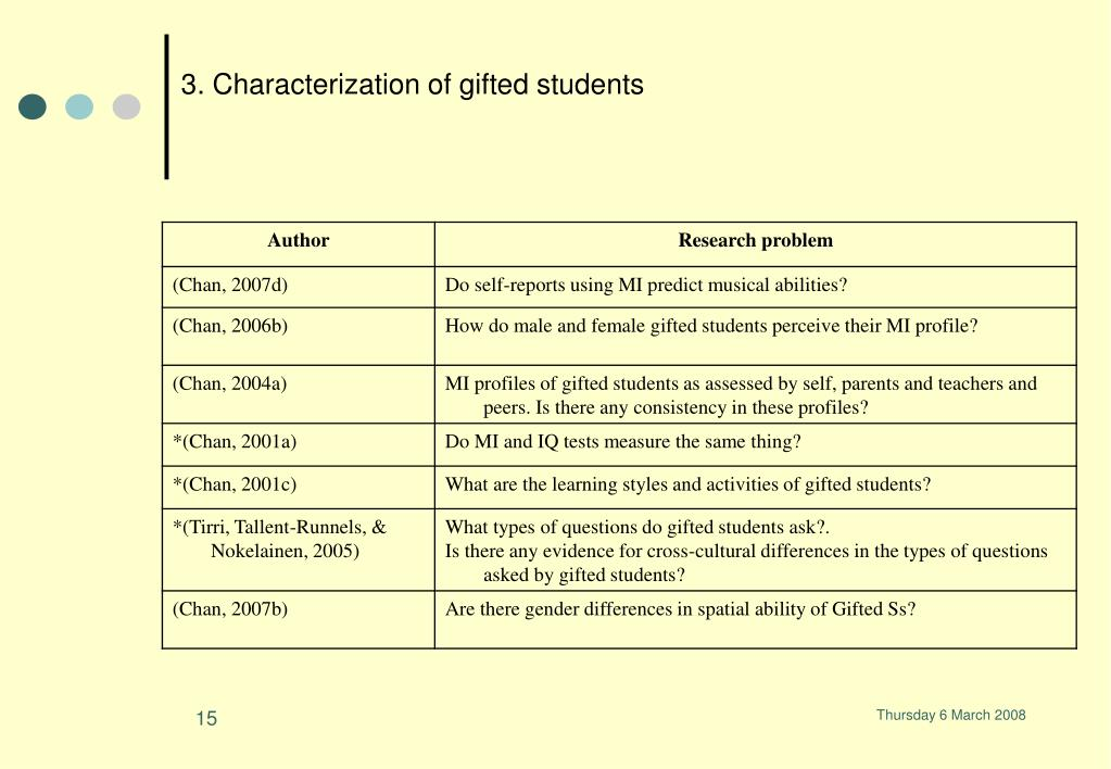 3. Characterization of gifted students