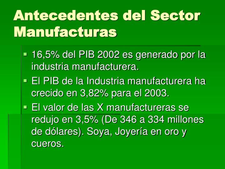 Antecedentes del sector manufacturas