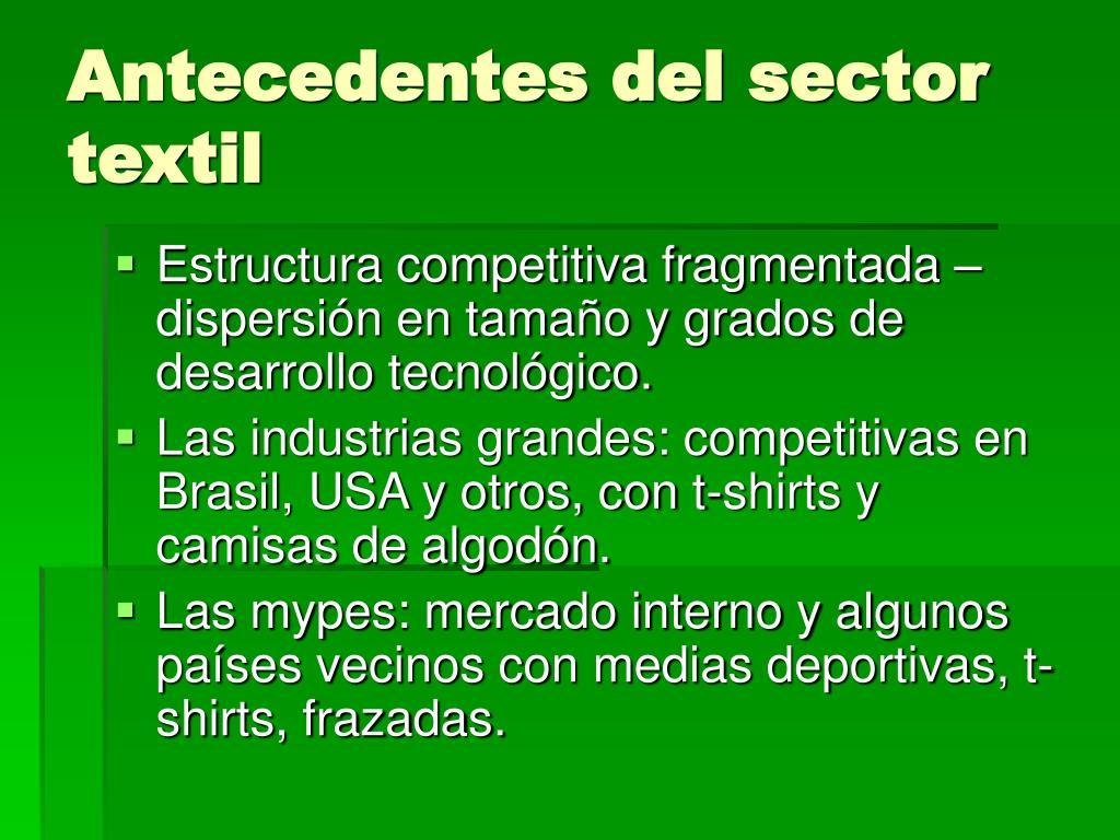 Antecedentes del sector textil