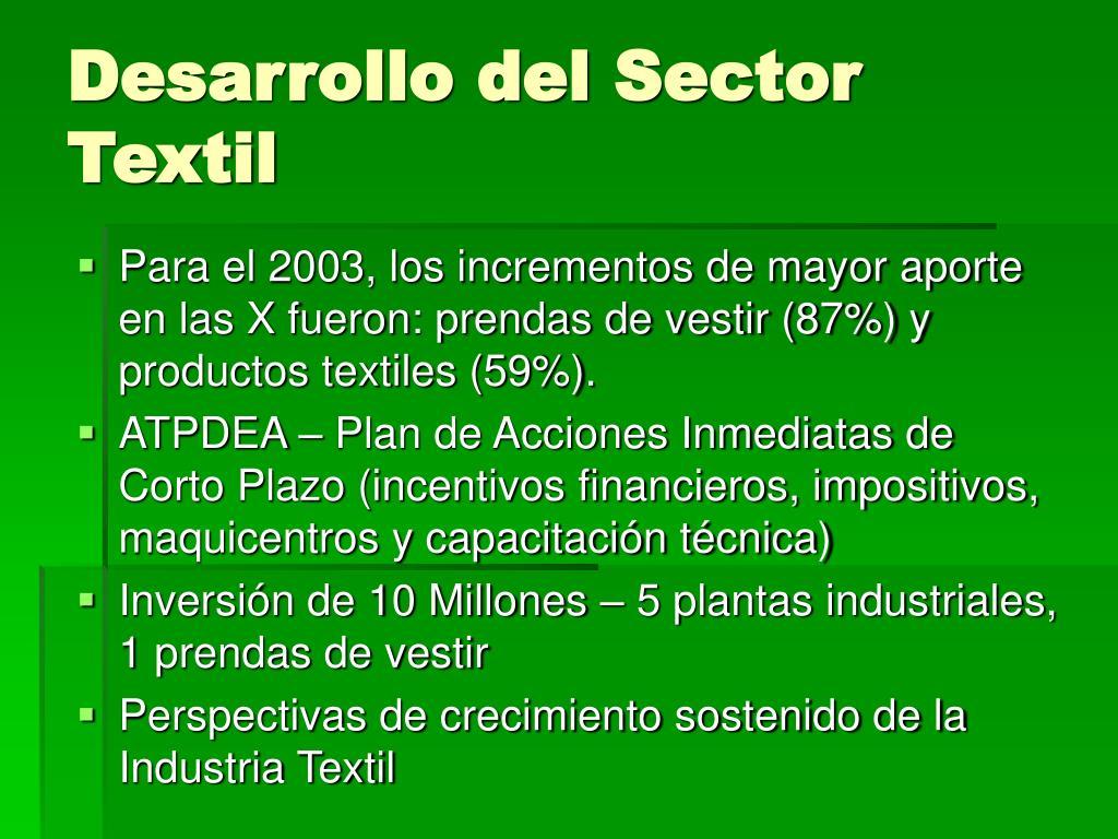 Desarrollo del Sector Textil