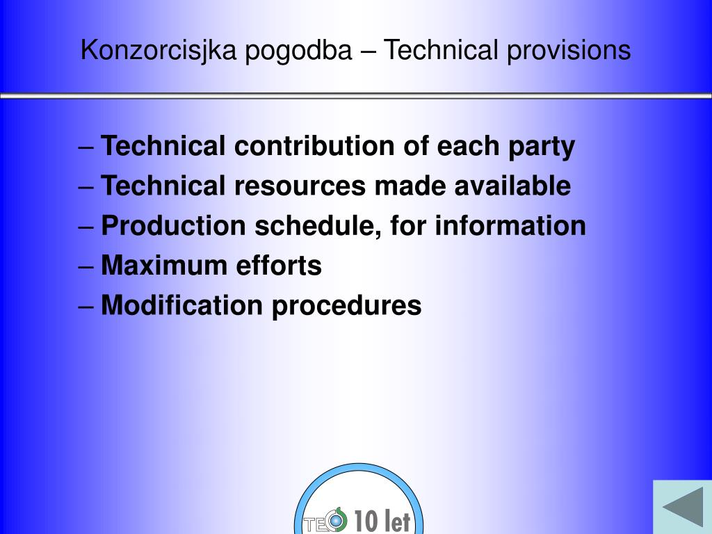 Konzorcisjka pogodba – Technical provisions