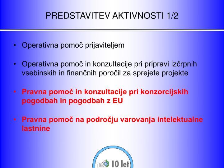Predstavitev aktivnosti 1 2