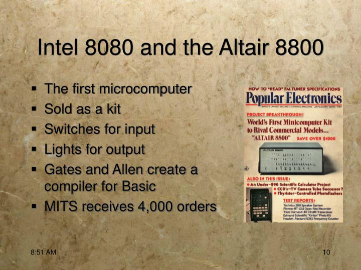 Intel 8080 and the Altair 8800