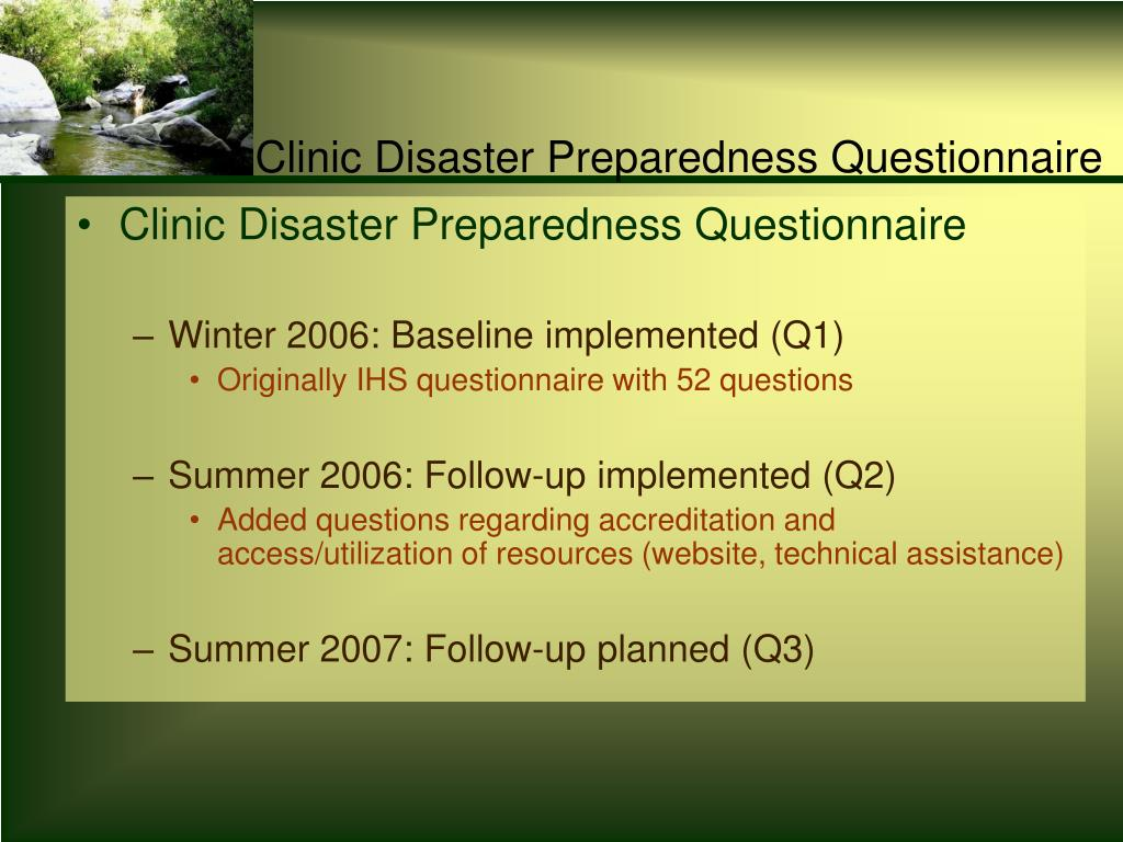 Clinic Disaster Preparedness Questionnaire