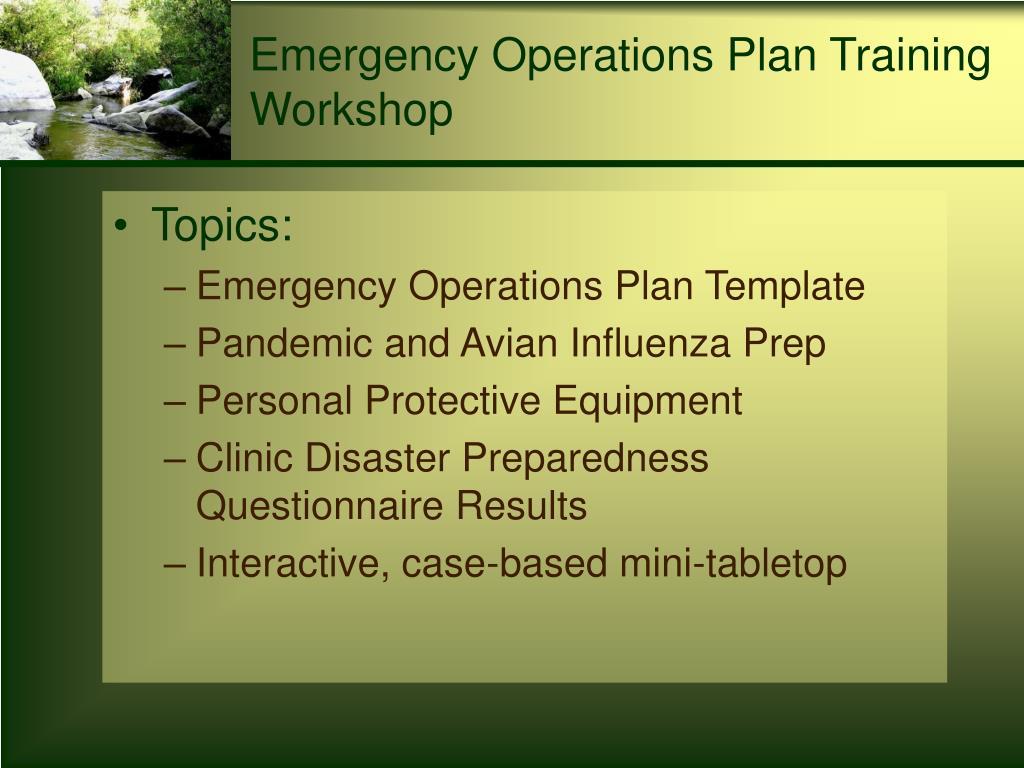 Emergency Operations Plan Training Workshop