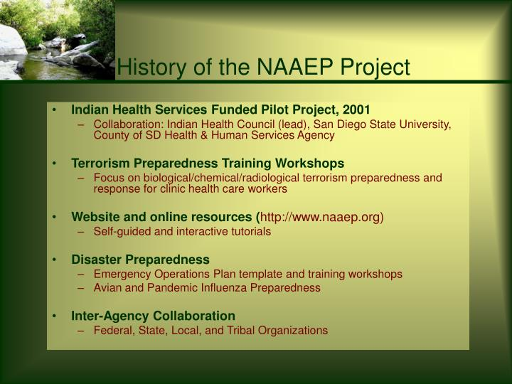 History of the naaep project