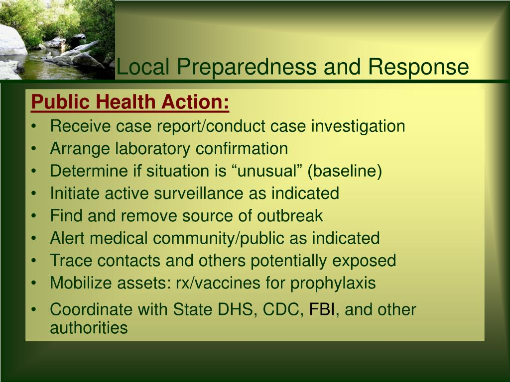 Local Preparedness and Response