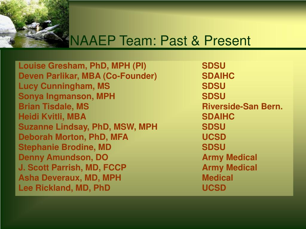 NAAEP Team: Past & Present