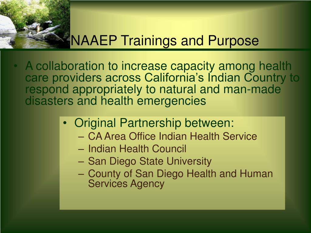 NAAEP Trainings and Purpose