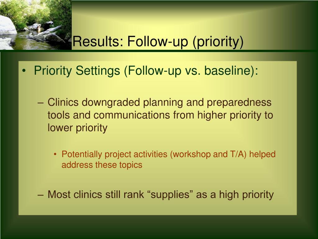 Priority Settings (Follow-up vs. baseline):