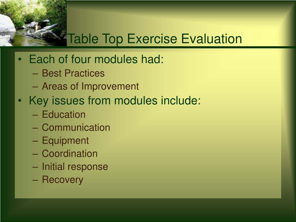 Table Top Exercise Evaluation