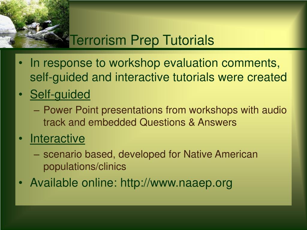 Terrorism Prep Tutorials