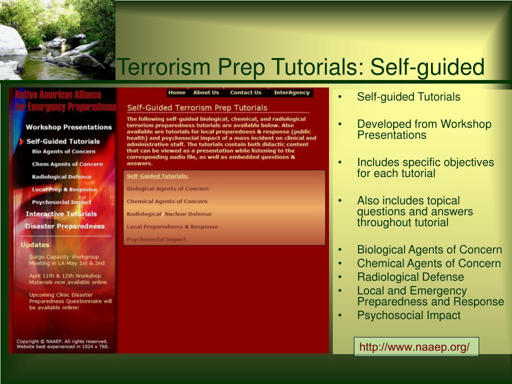 Terrorism Prep Tutorials: Self-guided