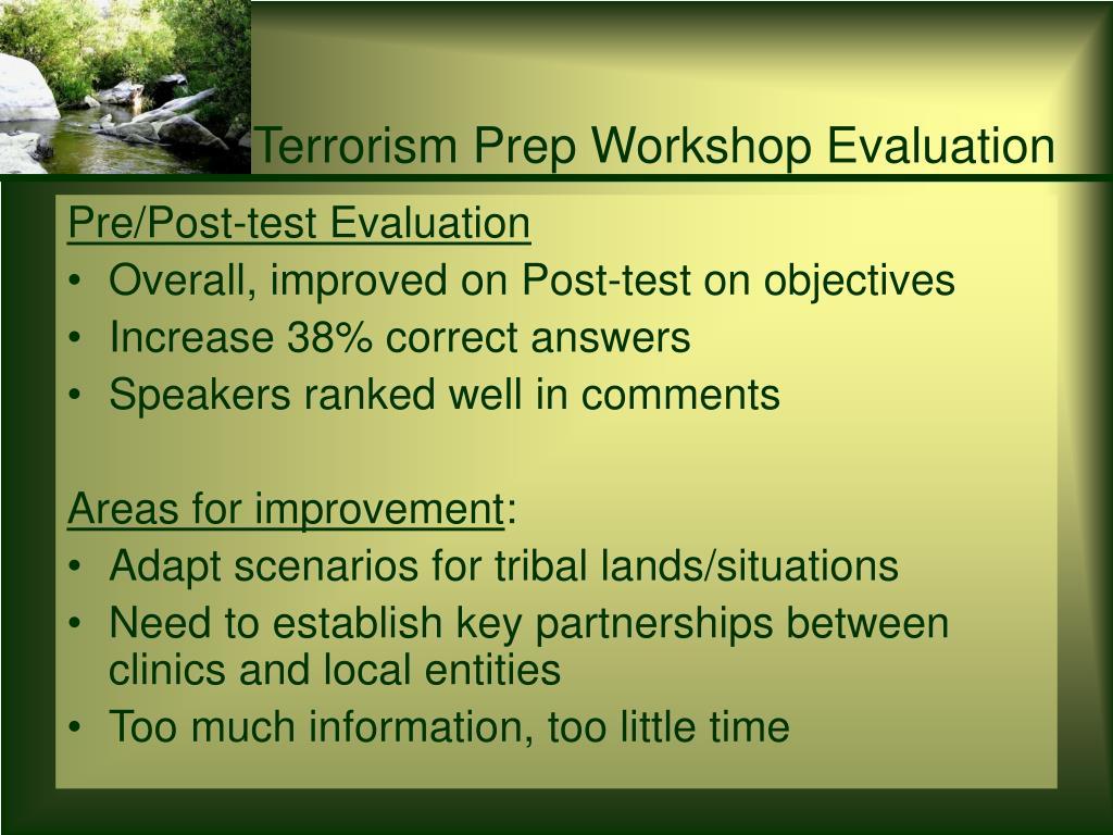 Terrorism Prep Workshop Evaluation