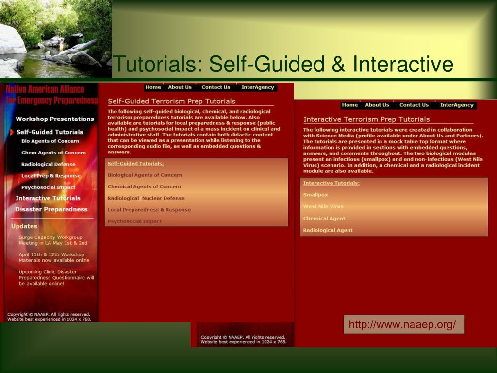 Tutorials: Self-Guided & Interactive