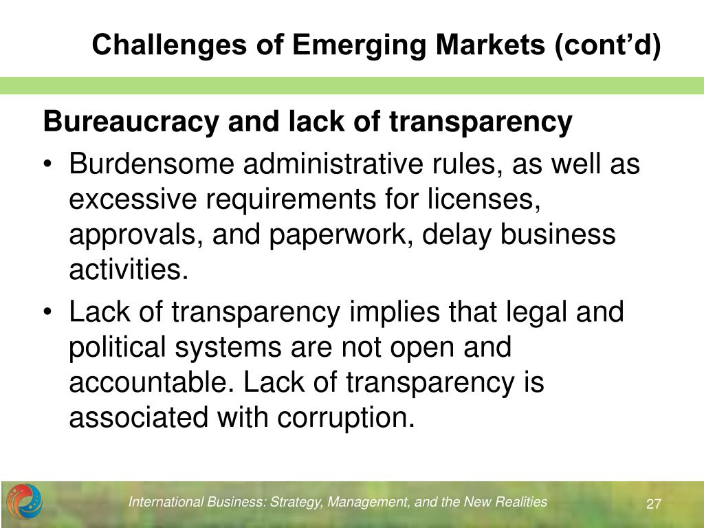 Challenges of Emerging Markets (cont'd)