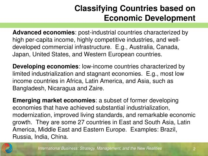 Classifying countries based on economic development