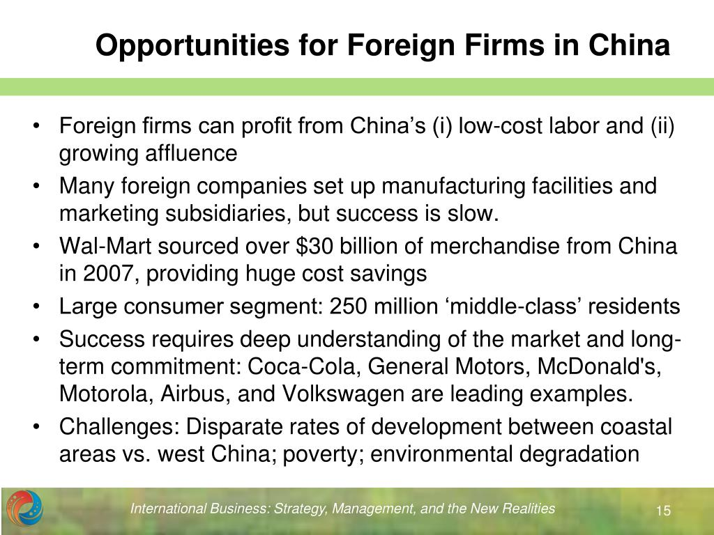 Opportunities for Foreign Firms in China