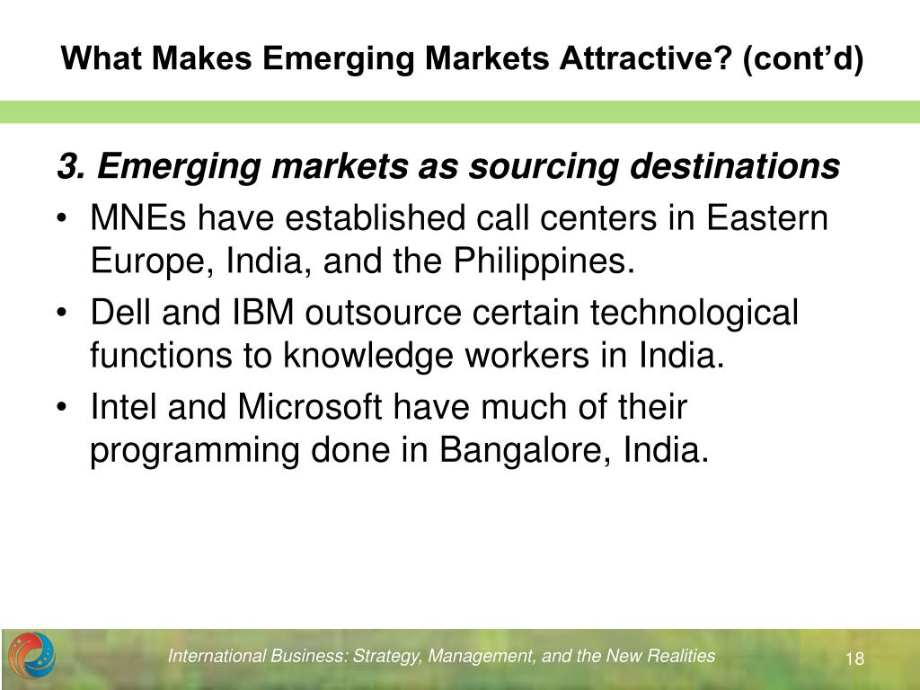 What Makes Emerging Markets Attractive? (cont'd)