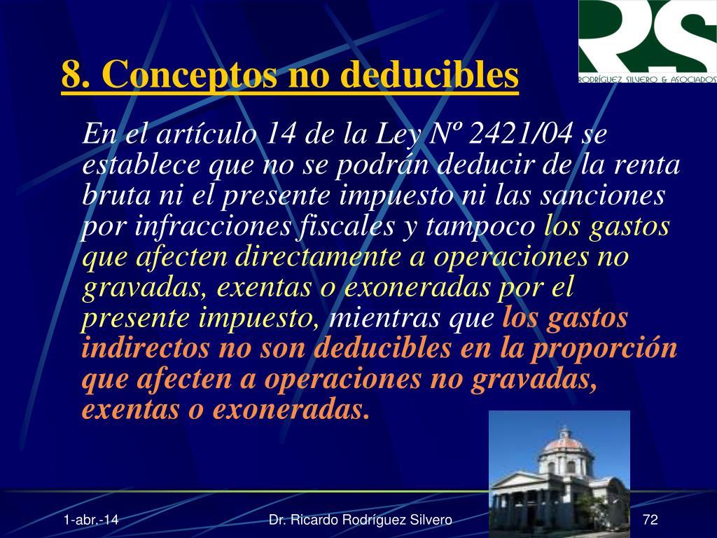 8. Conceptos no deducibles
