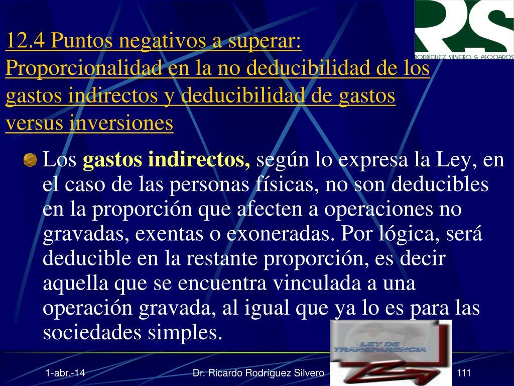 12.4 Puntos negativos a superar: Proporcionalidad en la no deducibilidad de los gastos indirectos y deducibilidad de gastos versus inversiones