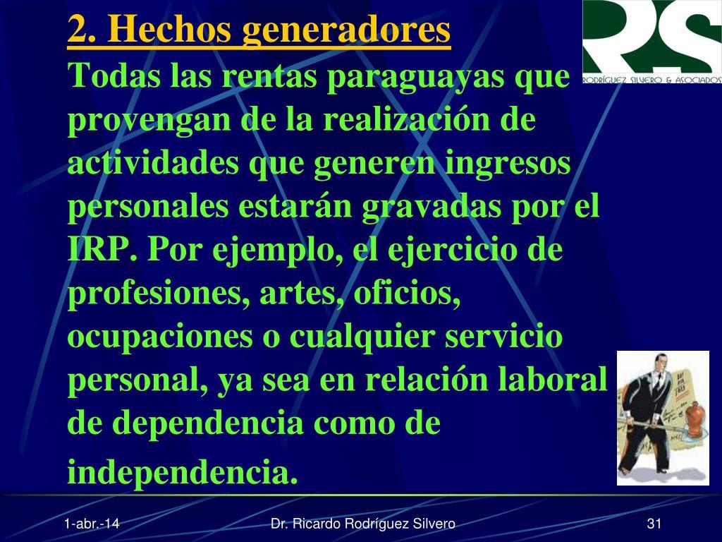 2. Hechos generadores