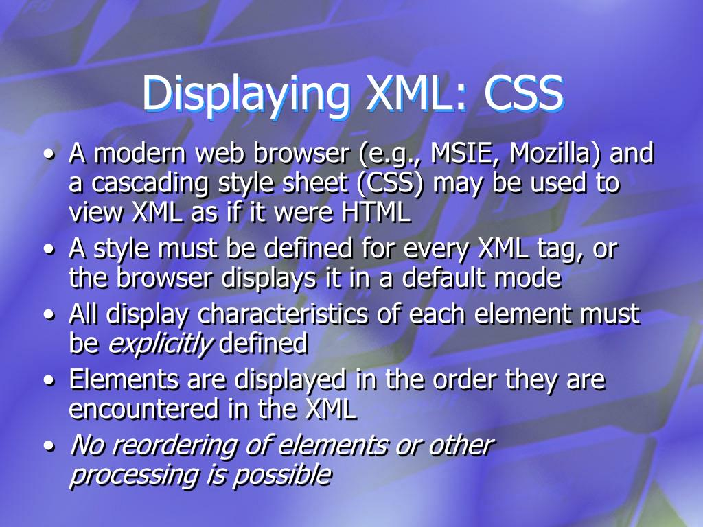 Displaying XML: CSS